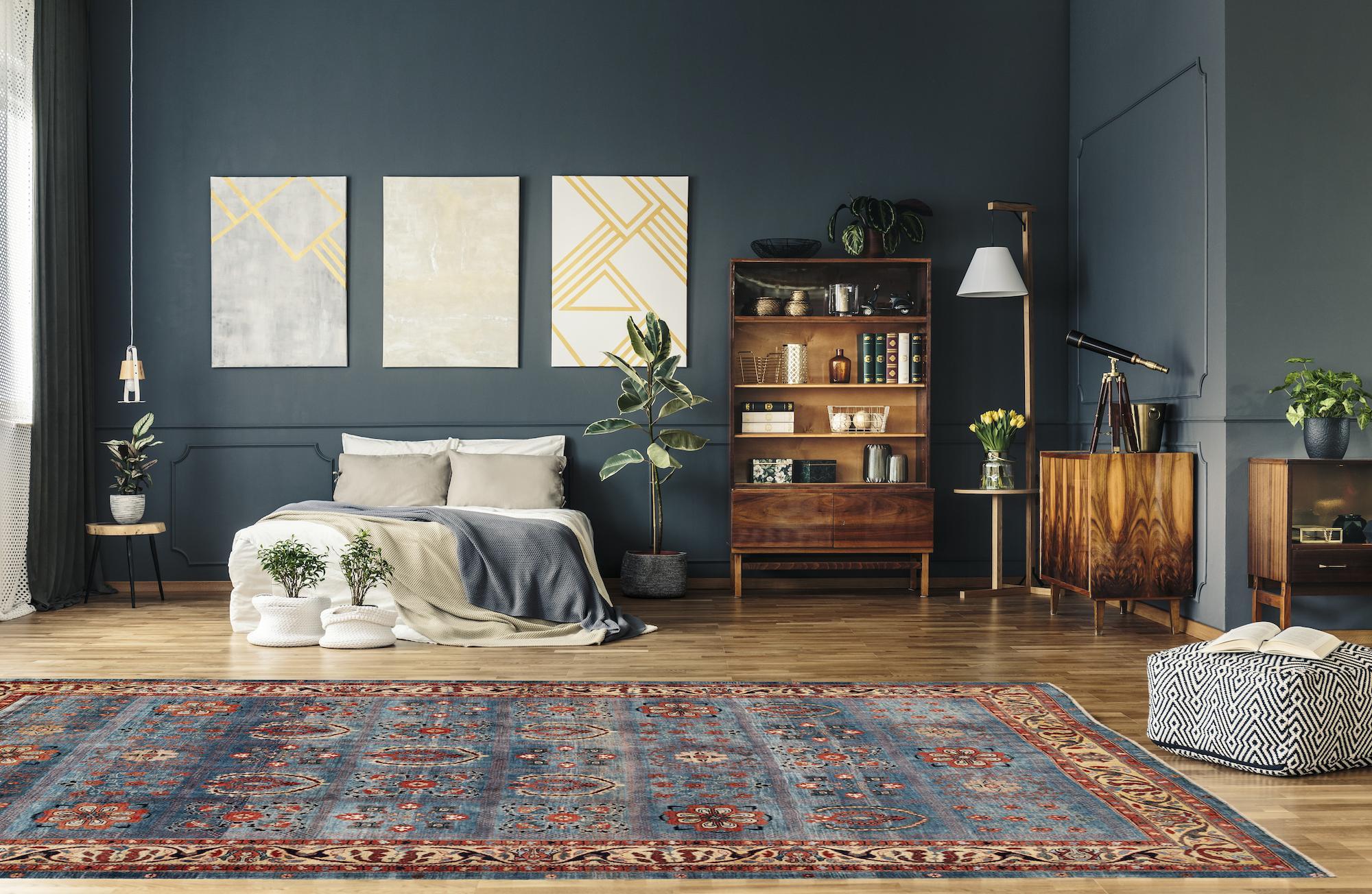 tappeto gabbeh colorato moderno blu in casa moderna