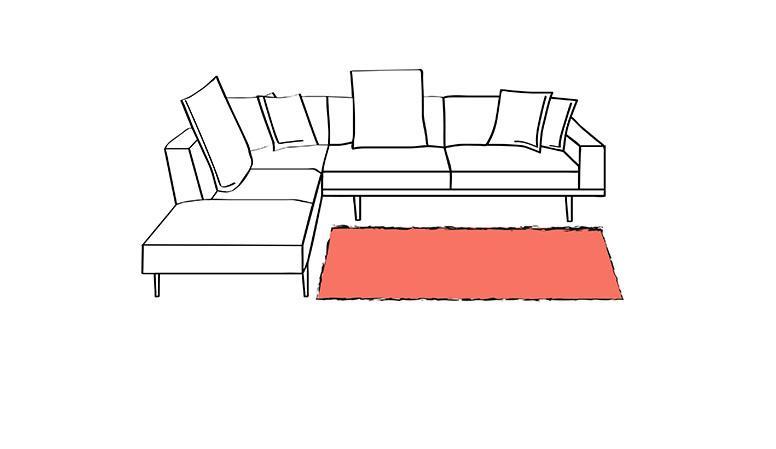 tappeto nel riquadro divano a L