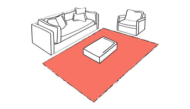 Tappeto davanti a divano